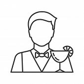 Barman Linear Icon. Bartender, Barkeeper. Thin Line Illustration. Contour Symbol. Vector Isolated Ou poster
