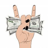 Rock-n-roll Hand Gesture With Clutched Currency Usa. Hand Grasping Several Of Dollars. Heavy Metal S poster