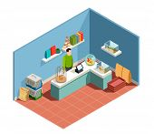 Pet Shop Isometric Composition With Goods For Pet Seller Behind Counter Parrot In Cage Goldfish In A poster