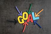 Business Success Target Or Goals Concept, Colorful Wooden Alphabets Goal At The Center With Pointing poster