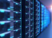Corridor Of  Server Room With Server Racks In Datacenter. 3D Illustration poster