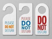 Do Not Disturb Room Vector Signs. Hotel Door Hangers Collection. Do Not Disturb Card And Label Illus poster