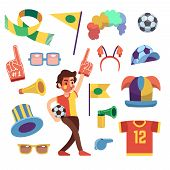 Soccer Sports Funs With Tools To Cheer Team Win. Cartoon Vector Set. Sport Soccer And Football Cheer poster