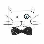 Vector Illustration Of The Grumpy Cat With Dotted Bow Tie poster