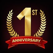 1 Year Anniversary Vector. One, First Celebration Banner. Gold Digit Sign. Number One. Laurel Wreath poster
