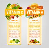 Vitamin A And Vitamin C Banners With Place For Text. Vertical Vector Illustrations With Caption Lett poster