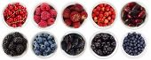 Black-blue And Red Berries Isolated On White Background. Collage Of Different Fruits And Berries. Bl poster