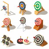 Target With Arrow Icons Set. Isometric Illustration Of 9 Target With Arrow Logo Vector Icons For Web poster