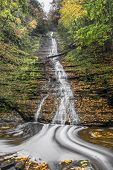 Excelsior Falls Is A Tall, Cascading Waterfall In Secluded Excelsior Glen On Seneca Lake Not Far Fro poster