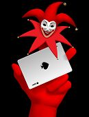 Human hand with a red smiled Joker head on the finger holding ace of Spades playing card isolated on poster
