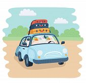 Vector Cartoon Illustration Of Travel Car Parking In The Countryside. Baggage For Family Trip. Lugga poster