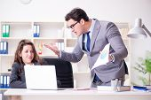 Angry boss unhappy with female employee performance poster