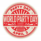 World Party Day, April 3, Rubber Stamp, Vector Illustration poster