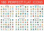 180 Vector Complex Flat Icons Concept Symbols Of School, Stationery, Education, Online Learning, Bra poster