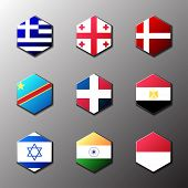 Hexagon Icon Set. Flags Of The World With Official Rgb Coloring And Detailed Emblems In Vector. Grec poster