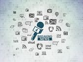 News Concept: Painted Blue Breaking News And Microphone Icon On Digital Data Paper Background With   poster