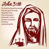 Jesus Christ, The Son Of God, John 3 :16 The Quote Calligraphic Text Symbol Of Christianity Hand Dra poster