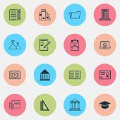 School Icons Set With School Building, Rulers, Diploma And Other Home Work Elements. Isolated Vector poster