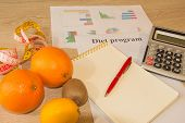 Concept Of Diet. Low-calorie Vegetables Diet. Diet For Weight Loss. Fruits And Vitamins With Measuri poster