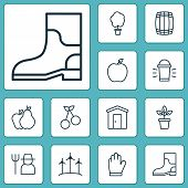 Gardening Icons Set With Garden Gloves, Gardening Shoes, Plant Pot And Other Hang Lamp Elements. Iso poster