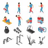 Healthy Lifestyle Attributes Isometric Icons Collection With Fitness Gym Exercises Equipment Food Su poster