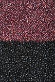 A Shot Of Medium-sized Black Beans And Small Adzuki Beans (azuki, Aduki, Red Mung Beans). Background poster
