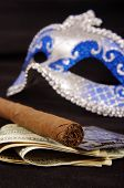 Prostitution Concept: Luxury Cigar, Money, Condoms And Seduction Domino Mask poster