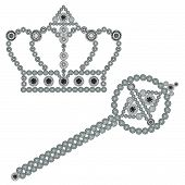 foto of scepter  - Crown and scepter isolated on white background - JPG