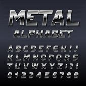 Metal Effect Alphabet Font. Steel Numbers, Symbols And Letters. Stock Vector Typeset For Any Typogra poster