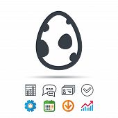Dinosaur Egg Icon. Birth Symbol. Pokemon Egg Concept. Statistics Chart, Chat Speech Bubble And Conta poster