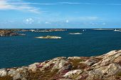 Sea Landscape With Yachts And Rocky Coastline On The South Of Sweden. poster