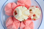 Close Up Of Thai Dessert Cupcake Or Thai Rice Flour Muffin For Chinese New Year. Thai Dessert Steame poster