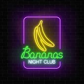 Glowing Neon Nightclub Signboard With Bananas In Rectangle Frame On Dark Brick Wall Background. Danc poster