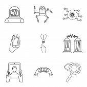Scientific Investigation Icons Set. Outline Set Of 9 Scientific Investigation Vector Icons For Web I poster