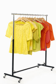 foto of clothes hanger  - Hanger with clothes any color - JPG