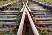 Two Railway Tracks Merge Together. Railway Crossing poster