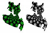 Soccsksargen Region (regions And Provinces Of The Philippines) Map Is Designed Cannabis Leaf Green A poster