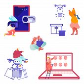 Drone Delivery Service Concept With People Controlling Quadcopter. Woman And Man Characters Shopping poster