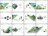 Minimal Brochure Templates With Colorful Cubes, Trendy Geometric Abstract Background. Covers Design  poster