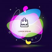 Black Shoping Bag With An Inscription Sale Icon Isolated On Dark Blue Background. Handbag Sign. Woma poster