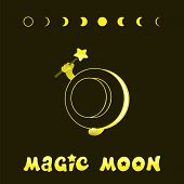 Moon Phases, Kawaii Moon And Magic Show With Magic Hat. Cute Comic With A Waning Moon And A Waning M poster