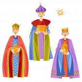Children In Biblical Magi Costumes. Three Wise Men. Three Kings. Vector Illustration. poster