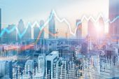 Trading Investment Concept. Blurred City On The Background Of Graphs And Trade poster