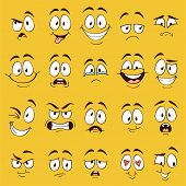Cartoon Faces. Funny Face Expressions, Caricature Emotions. Cute Character With Different Expressive poster