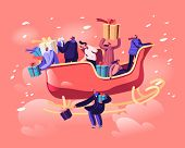 Happy Male And Female Characters Sitting In Santa Claus Sled Flying By Sky Throw Gifts And Presents  poster