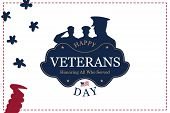 Veterans Day. Greeting Card With Usa Flag On Background. National American Holiday Event. Flat Vecto poster