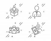 Teamwork, Human And Augmented Reality Line Icons Set. Payment Method Sign. Group Of Users, Person Pr poster