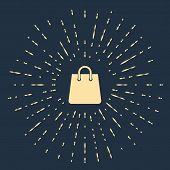 Beige Handbag Icon Isolated On Dark Blue Background. Shoping Bag Sign. Woman Bag Icon. Female Handba poster