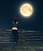 Alone Under The Moonlight,girl Standing Alone On The Wooden Bridge At Night Looking To The Moon,3d I poster