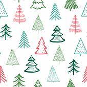 Doodle Fir-tree Pattern. Christmas Tree Handmade Wallpaper. Xmas Spruce Cute Sketch Vector Winter Ho poster